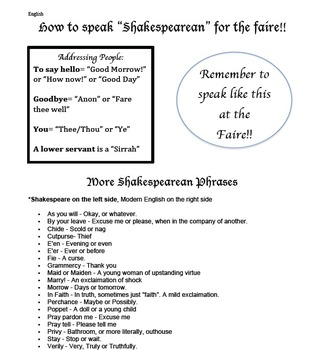 "How to speak ""Shakespearean"" handout"