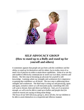 Bully Be Gone -  Self Advocacy Lesson #1