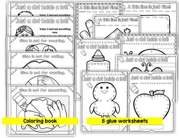 How to use glue in kindergarten- posters, worksheets and coloring book