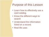 How to use the Card Catalog Powerpoint