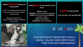 How to use verb tables in a dictionary