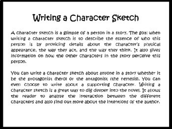 Writing a Character Sketch Printable (5th - 8th Grade) - TeacherVision