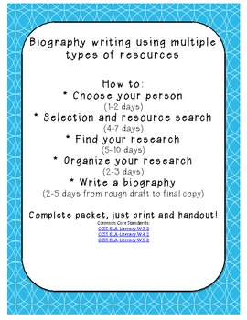 How to write a biography! Complete pack from selecting a person to final copy!
