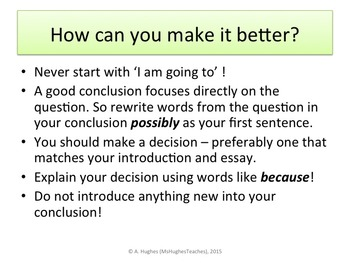 How To Write A Conclusion For An Essay By Ms Hughes Teaches  Tpt How To Write A Conclusion For An Essay