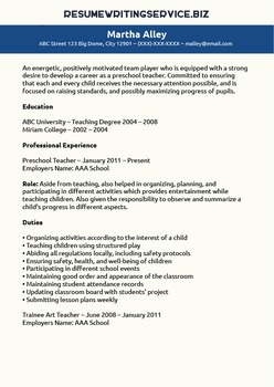 How to write a preschool teaher resume?