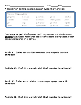 How to write an academic paragraph in Spanish-  El parrafo