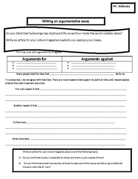 How to write an argumentative essay- technology worksheet