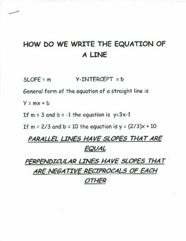 How to write the equation of a line