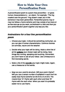 How to write your own Personification Poem