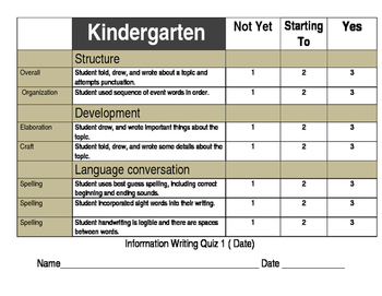 How to writing Assessment Kindergarten