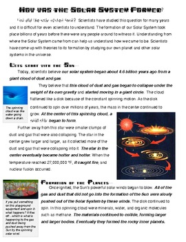 How was the Solar System formed-nonfiction reading and visualization activity
