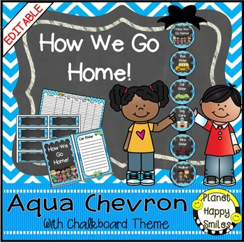 How we go home ~ Transportation Bundle (Editable) ~ Aqua and Chalkboard