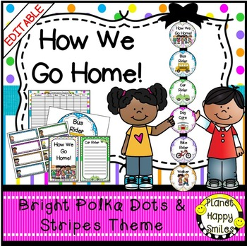 How we go home~Transportation Bundle (Editable)~Bright Polka Dots