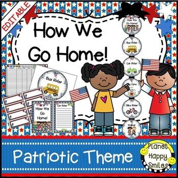 How we go home ~ Transportation Bundle (Editable) ~ Patriotic Theme
