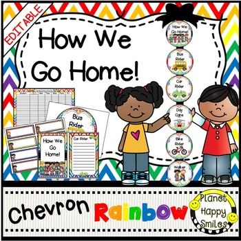 How we go home ~ Transportation Bundle (Editable) ~Rainbow Chevron w/ White Bkgd