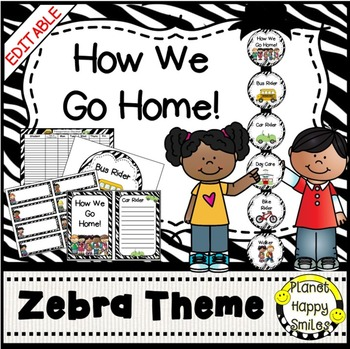 How we go home ~ Transportation Bundle (Editable) ~ Zebra Theme