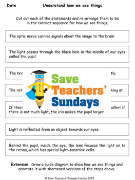 How we see things Lesson plan and Worksheet