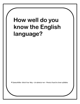 How well do you know the English language?