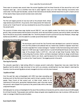 How were the Pyramids built? - Reading Comprehension Worksheet / Text