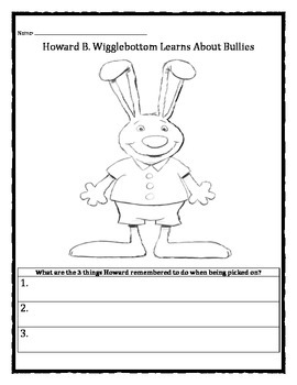 Howard B. Wigglebottom Learns About Bullies worksheet
