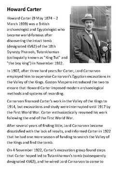Howard Carter Tomb of Tutankhamun Handout