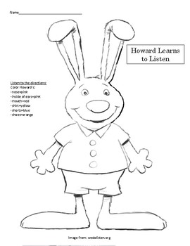 Howard B. Wigglebottom Learns to Listen-following directions activity