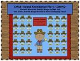 """Howdy Partner"" Cowboy Western Themed SMART Board Attendance Activity w/ SOUND"