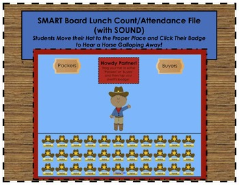 """""""Howdy Partner"""" Cowboy Western Themed SMART Board Lunch Count & Attendance"""