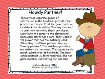 Howdy Partner Subtract Three-digit Numbers Game