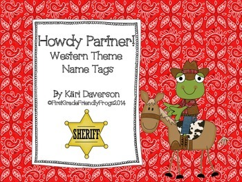 Back to School - Howdy Partner! Western Name Tags