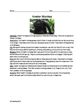 Howler Monkey - Review Article Questions Vocabulary Word Search
