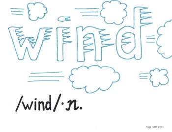 Howling Wind Cartoon--Printable Montessori Homograph Card