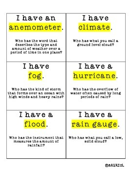How's the Weather? I Have Who Has... 2-Pack Weather Vocabulary Science Games