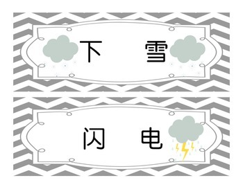 How's the weather Bulletin Board Calendar Math Chinese flash cards