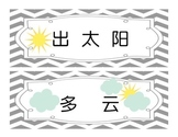 How's the weather Bulletin Board Calendar Math Chinese fla