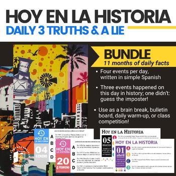 Hoy en la historia BUNDLE: 10 months of daily facts for Spanish classes