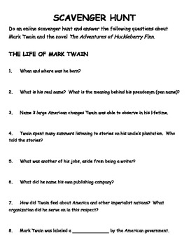 Huck Finn Background Webquest Jigsaw