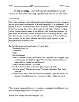 Huck Finn: Close Read Analysis