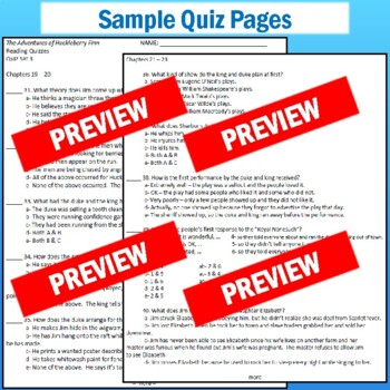 """Huck Finn"" Quizzes: 5 Quiz Sets with Answer Key"
