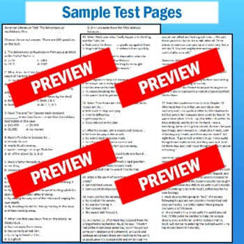 """Huck Finn"" Test with Study Guide and Answer Key"