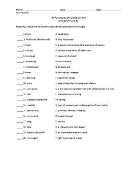 Huck Finn Vocab Quiz #2