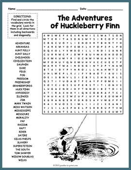 Adventures Of Huckleberry Finn Word Search By Puzzles To