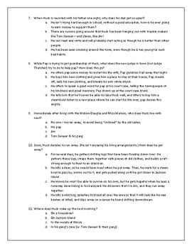 Huckleberry Finn Ch. 1-10 Multiple Choice Quiz