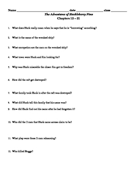 Huckleberry Finn - Chaps 1-31 Guided Reading Questions