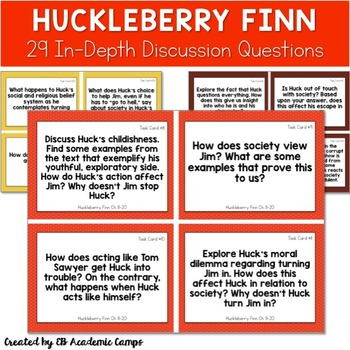 Huckleberry Finn Discussion Questions ~ Huck Finn Resource