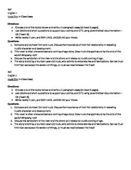 Huckleberry Finn In-Class Essay