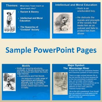 """""""Huckleberry Finn"""" PowerPoint to Introduce Mark Twain and the Novel"""