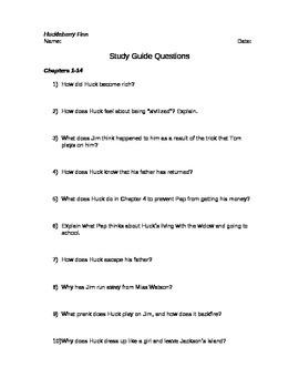 Huckleberry Finn Study Guide Questions