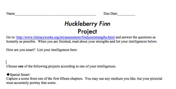 Huckleberry Finn: Timed Readings, Skill Tests, & Multiple Intelligence Projects