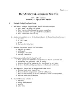 Huckleberry Finn Unit Test